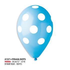 Štampani baloni tačkice svetlo plavi